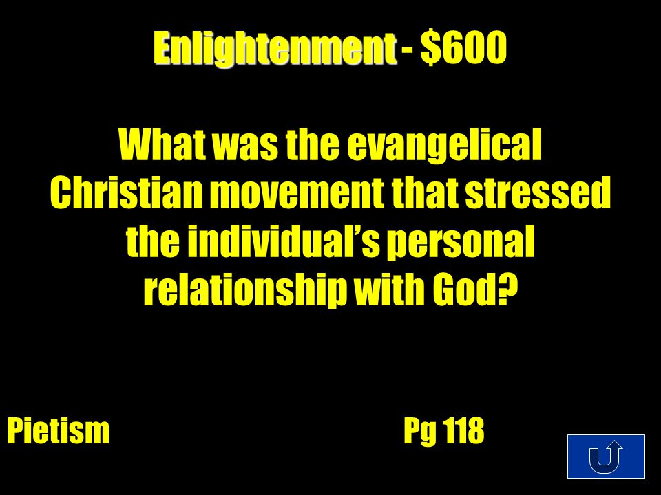 C1-$200 Enlightenment Enlightenment - $400 Who were the people who believed that God created the world but allowed it to operate through laws of nature.