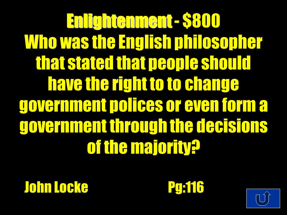 C1-$300 Enlightenment Enlightenment - $600 What was the evangelical Christian movement that stressed the individual's personal relationship with God.