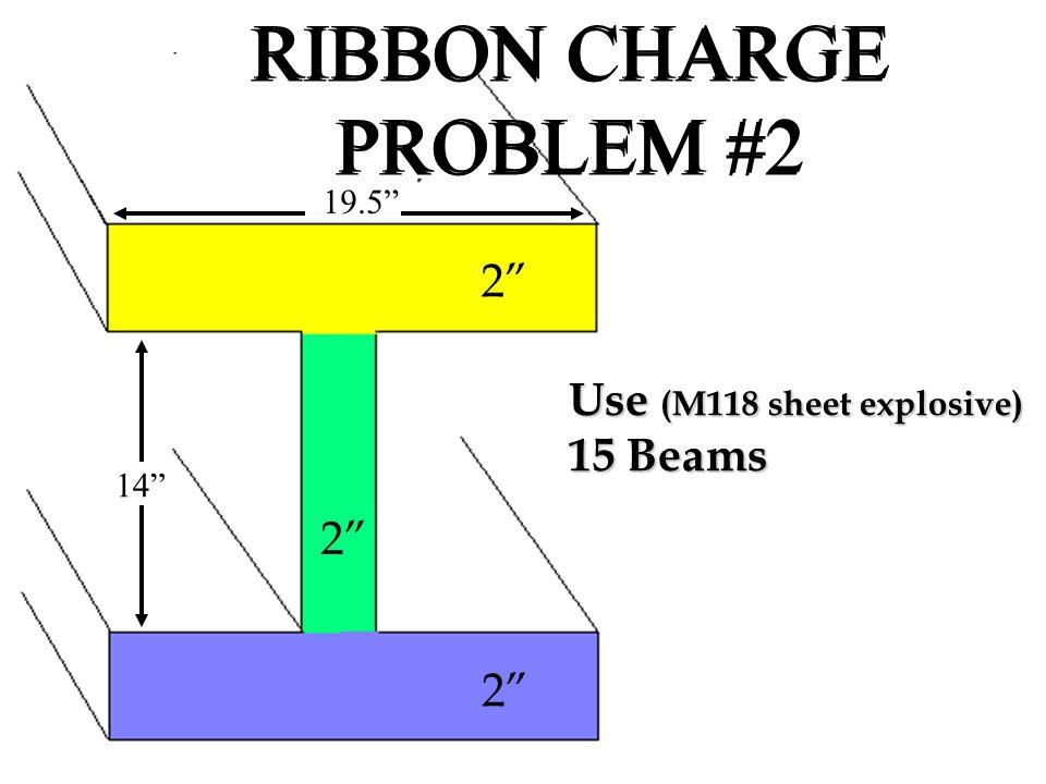 "19.5"" 14"" 2"" RIBBON CHARGE PROBLEM #2 2"" Use (M118 sheet explosive) 15 Beams"