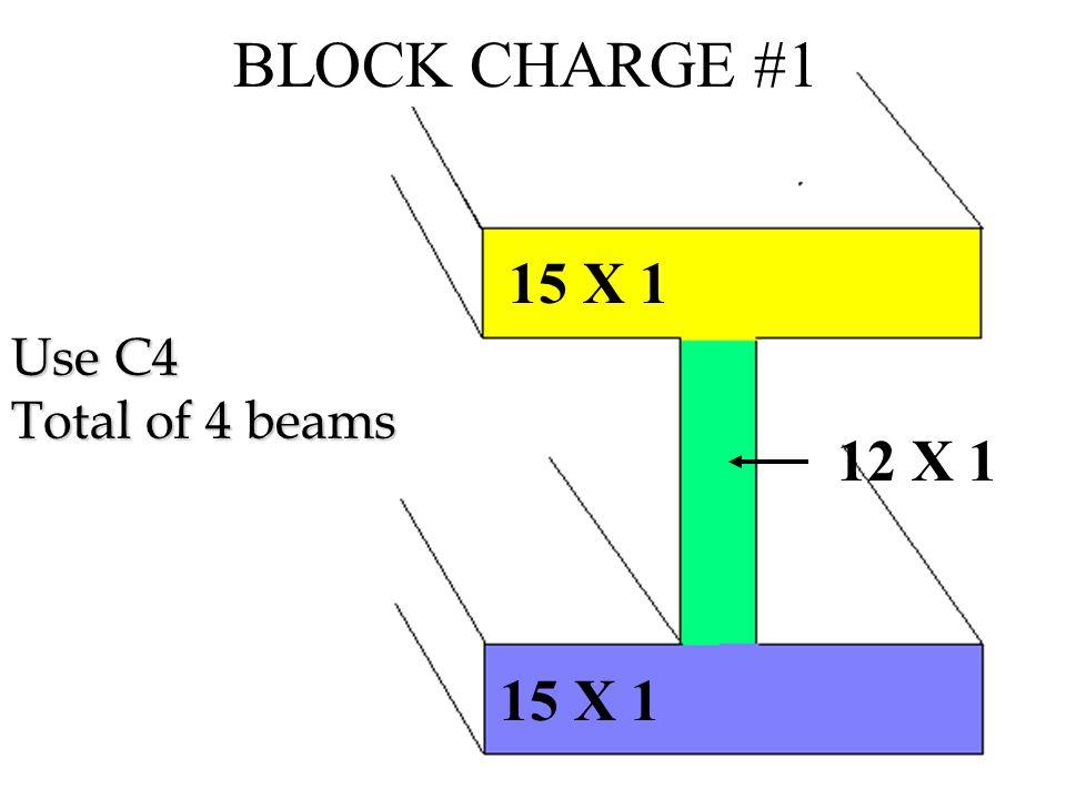 Step 1 :Flanges = 15 x 1 x 2 = 30 Sq in Web = 12 x 1 = 12 Sq in TOTAL = 42 Sq in Step 2 : P = 3/8 A P = 3/8 x 42 = 15.75 lbs TNT Step 3 : 15.75 = 11.75 lbs C4 (M112) 1.34 Step 4 : 11.75 = 9.4 10 pkgs C4 (M112) 1.25 Step 5 : 4 Beams = 4 Charges Step 6 : 10 x 4 = 40 pkgs C4 (M112) BLOCK SOLUTION # 1