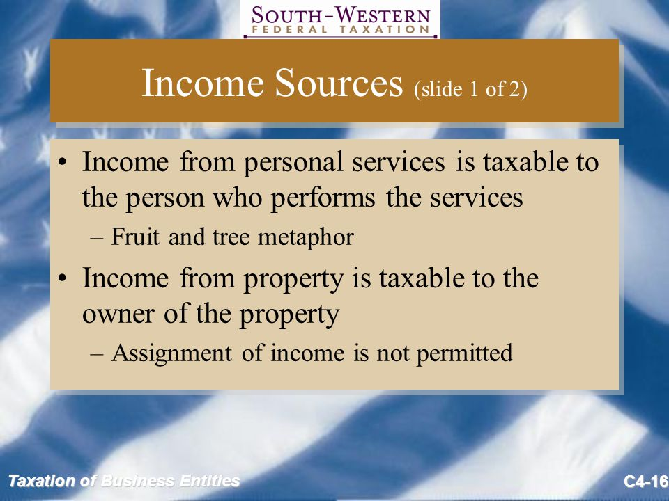 Taxation of Business Entities C4-16 Income Sources (slide 1 of 2) Income from personal services is taxable to the person who performs the services –Fruit and tree metaphor Income from property is taxable to the owner of the property –Assignment of income is not permitted Income from personal services is taxable to the person who performs the services –Fruit and tree metaphor Income from property is taxable to the owner of the property –Assignment of income is not permitted