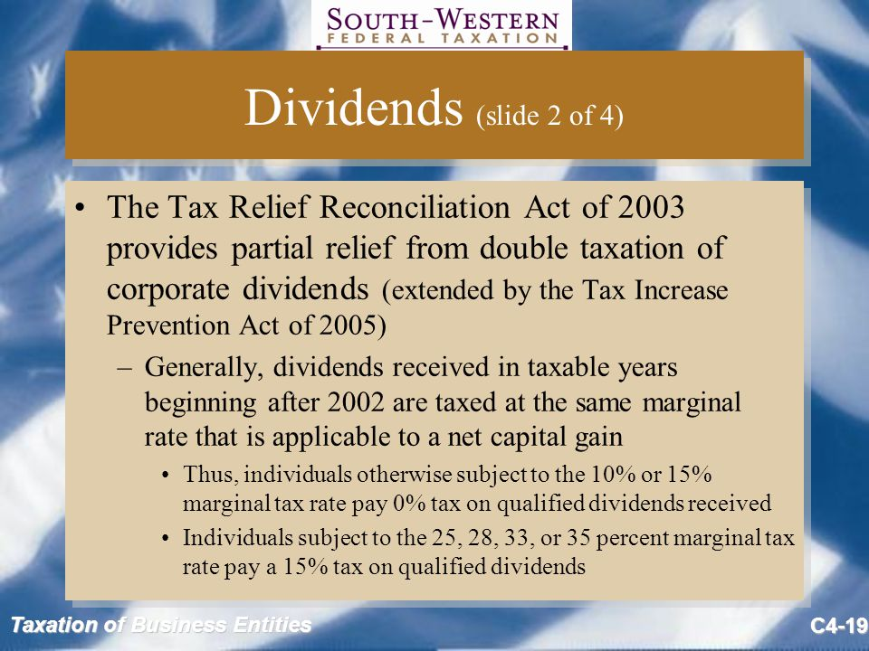 Taxation of Business Entities C4-19 Dividends (slide 2 of 4) The Tax Relief Reconciliation Act of 2003 provides partial relief from double taxation of corporate dividends (extended by the Tax Increase Prevention Act of 2005) –Generally, dividends received in taxable years beginning after 2002 are taxed at the same marginal rate that is applicable to a net capital gain Thus, individuals otherwise subject to the 10% or 15% marginal tax rate pay 0% tax on qualified dividends received Individuals subject to the 25, 28, 33, or 35 percent marginal tax rate pay a 15% tax on qualified dividends The Tax Relief Reconciliation Act of 2003 provides partial relief from double taxation of corporate dividends (extended by the Tax Increase Prevention Act of 2005) –Generally, dividends received in taxable years beginning after 2002 are taxed at the same marginal rate that is applicable to a net capital gain Thus, individuals otherwise subject to the 10% or 15% marginal tax rate pay 0% tax on qualified dividends received Individuals subject to the 25, 28, 33, or 35 percent marginal tax rate pay a 15% tax on qualified dividends