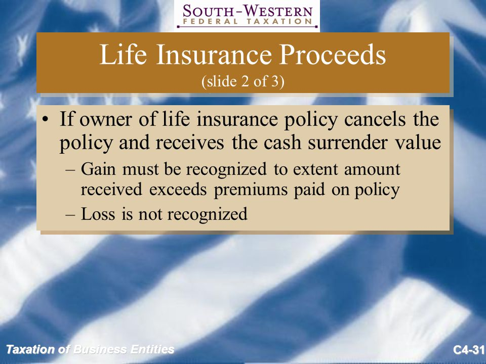 Taxation of Business Entities C4-31 Life Insurance Proceeds (slide 2 of 3) If owner of life insurance policy cancels the policy and receives the cash
