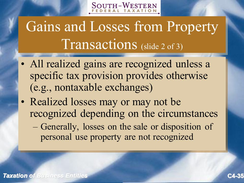 Taxation of Business Entities C4-35 Gains and Losses from Property Transactions (slide 2 of 3) All realized gains are recognized unless a specific tax provision provides otherwise (e.g., nontaxable exchanges) Realized losses may or may not be recognized depending on the circumstances –Generally, losses on the sale or disposition of personal use property are not recognized All realized gains are recognized unless a specific tax provision provides otherwise (e.g., nontaxable exchanges) Realized losses may or may not be recognized depending on the circumstances –Generally, losses on the sale or disposition of personal use property are not recognized
