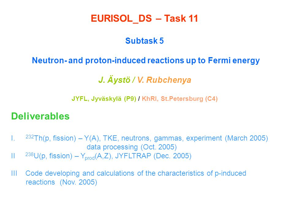 ST3 Model of fission process Pre-equilibrium model in p- and n- reactions with heavy nuclei Systematics of fission modes from thermal-neutron-induced fission to high excitation energy Improving description of post scission neutrons