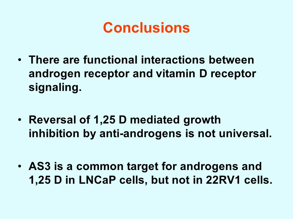 Conclusions There are functional interactions between androgen receptor and vitamin D receptor signaling.