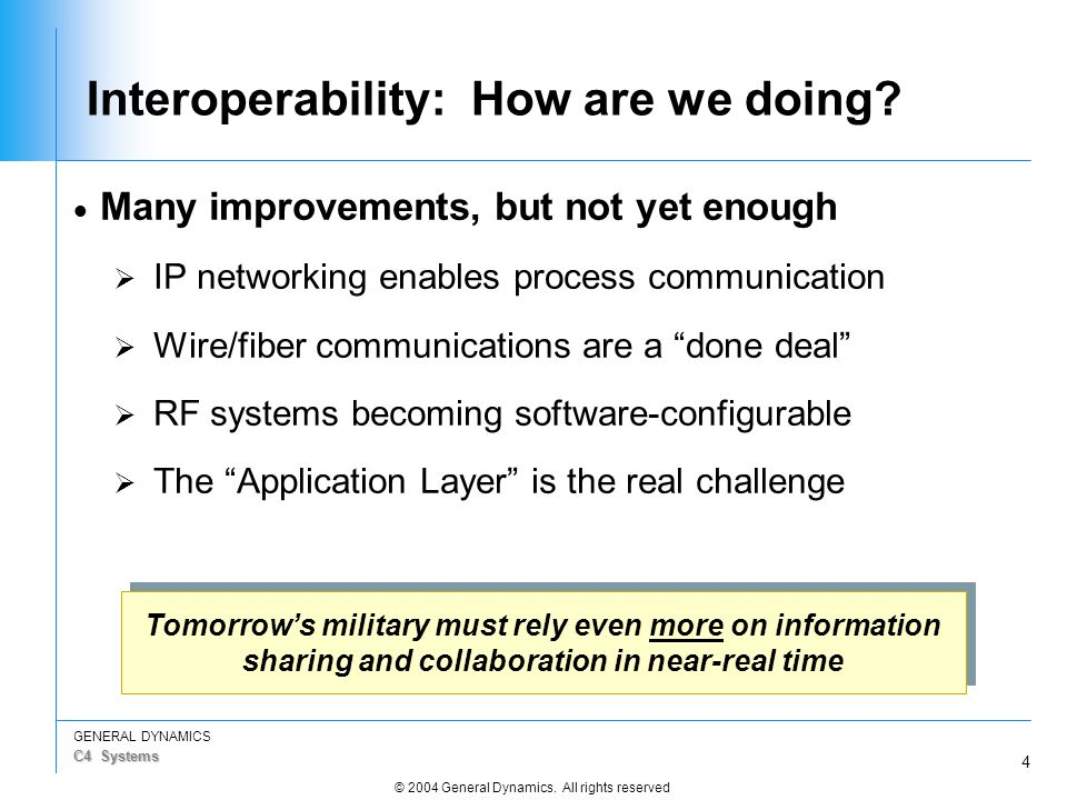 4 GENERAL DYNAMICS C4 Systems © 2004 General Dynamics. All rights reserved Interoperability: How are we doing?  Many improvements, but not yet enough
