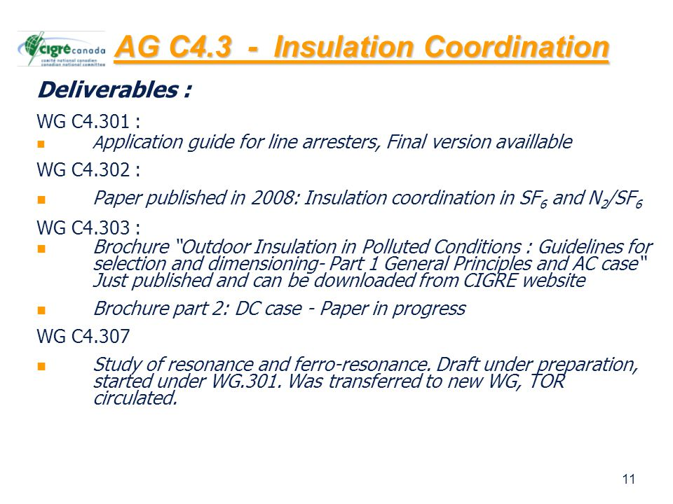 11 Deliverables : WG C4.301 : A pplication guide for line arresters, Final version availlable WG C4.302 : Paper published in 2008: Insulation coordination in SF 6 and N 2 /SF 6 WG C4.303 : Brochure Outdoor Insulation in Polluted Conditions : Guidelines for selection and dimensioning- Part 1 General Principles and AC case Just published and can be downloaded from CIGRE website Brochure part 2: DC case - Paper in progress WG C4.307 Study of resonance and ferro-resonance.