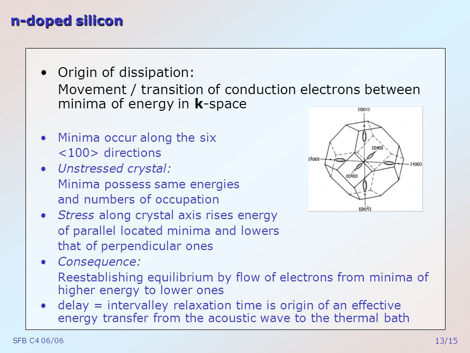 SFB C4 06/06 13/15 n-doped silicon Origin of dissipation: Movement / transition of conduction electrons between minima of energy in k-space Minima occur along the six directions Unstressed crystal: Minima possess same energies and numbers of occupation Stress along crystal axis rises energy of parallel located minima and lowers that of perpendicular ones Consequence: Reestablishing equilibrium by flow of electrons from minima of higher energy to lower ones delay = intervalley relaxation time is origin of an effective energy transfer from the acoustic wave to the thermal bath