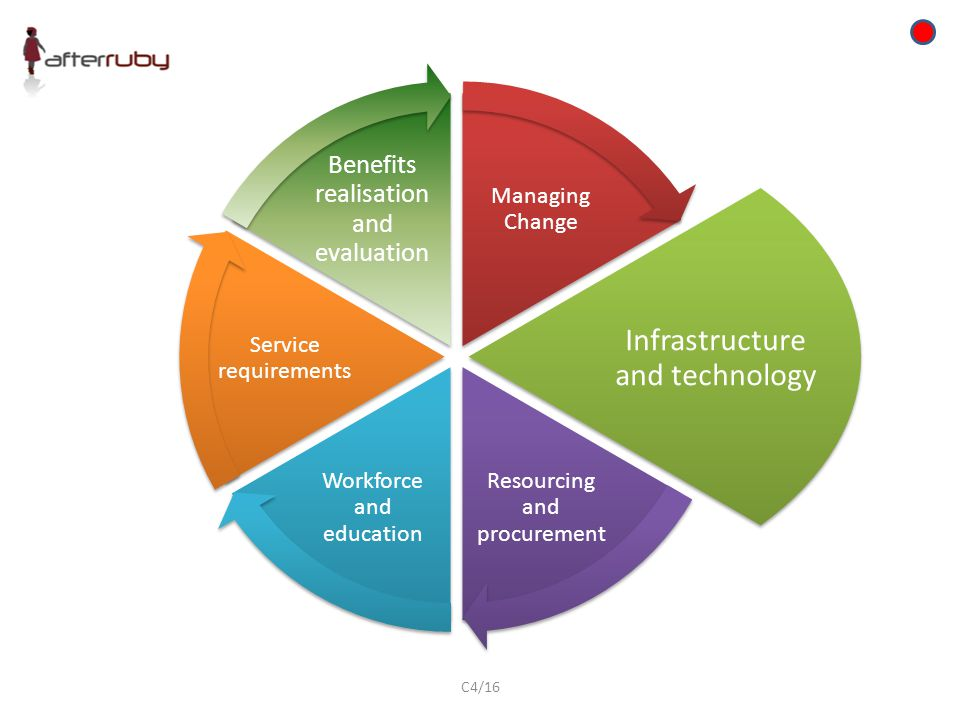 Managing Change Infrastructure and technology Resourcing and procurement Workforce and education Service requirements Benefits realisation and evaluation C4/16
