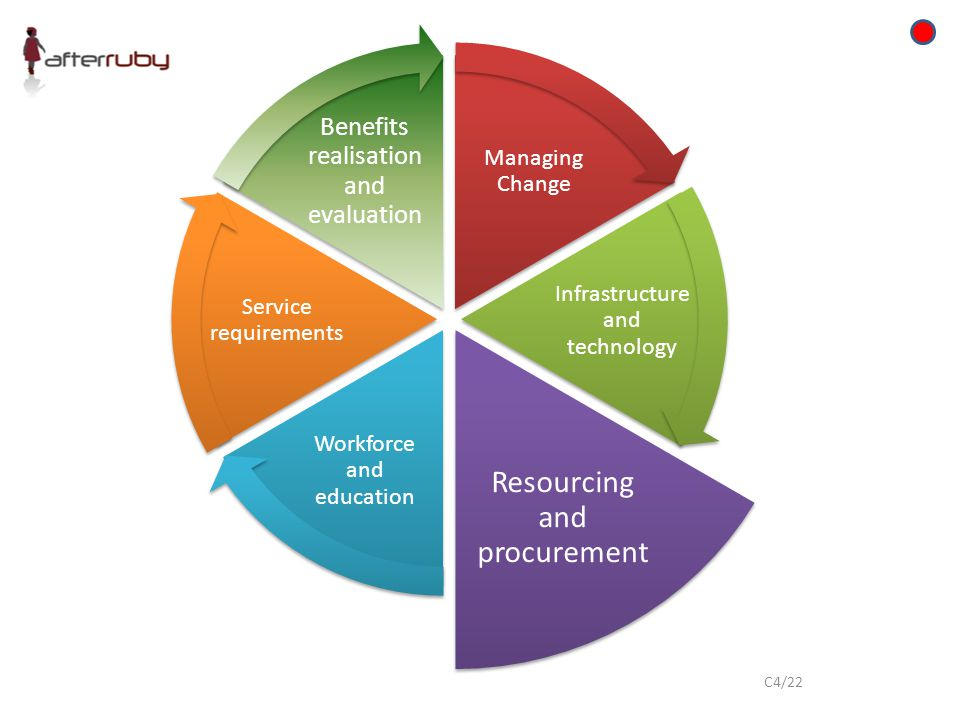 Managing Change Infrastructure and technology Resourcing and procurement Workforce and education Service requirements Benefits realisation and evaluation C4/22