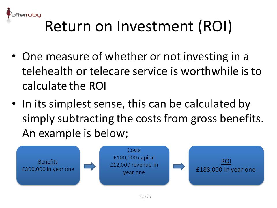 Return on Investment (ROI) One measure of whether or not investing in a telehealth or telecare service is worthwhile is to calculate the ROI In its simplest sense, this can be calculated by simply subtracting the costs from gross benefits.