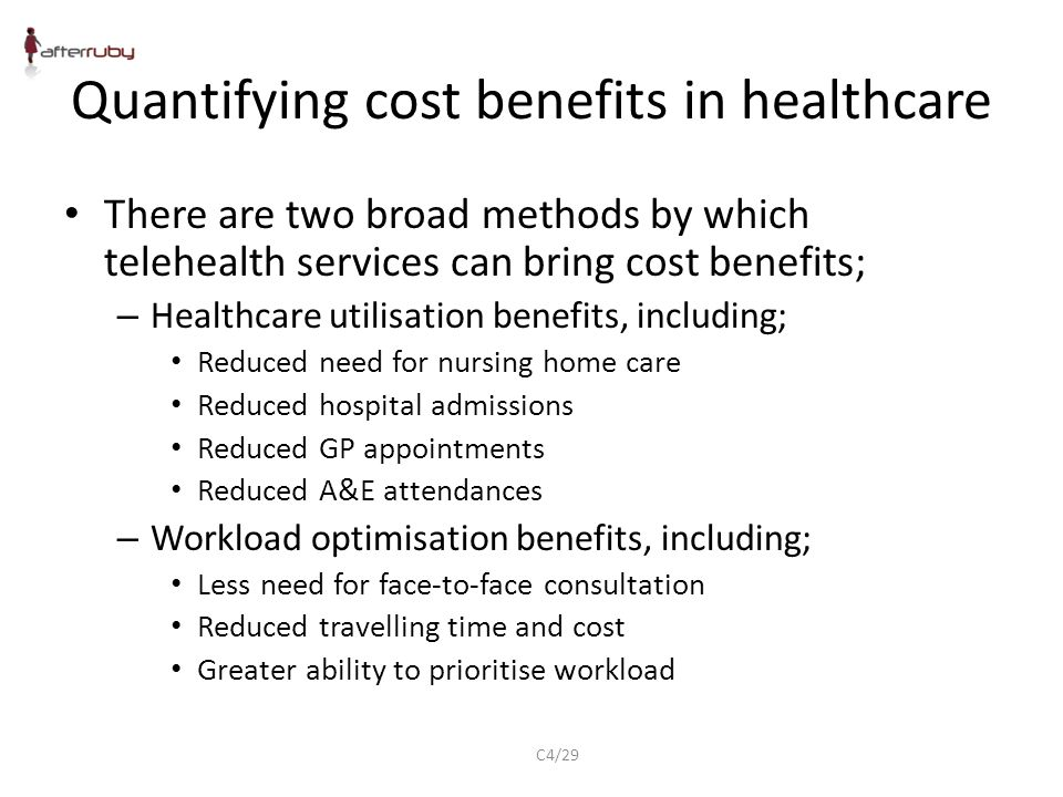Quantifying cost benefits in healthcare There are two broad methods by which telehealth services can bring cost benefits; – Healthcare utilisation benefits, including; Reduced need for nursing home care Reduced hospital admissions Reduced GP appointments Reduced A&E attendances – Workload optimisation benefits, including; Less need for face-to-face consultation Reduced travelling time and cost Greater ability to prioritise workload C4/29