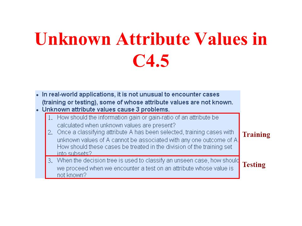 Unknown Attribute Values in C4.5 Training Testing