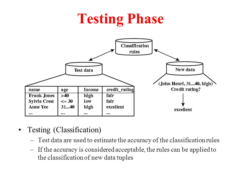 Testing Phase Testing (Classification) –Test data are used to estimate the accuracy of the classification rules –If the accuracy is considered acceptable, the rules can be applied to the classification of new data tuples