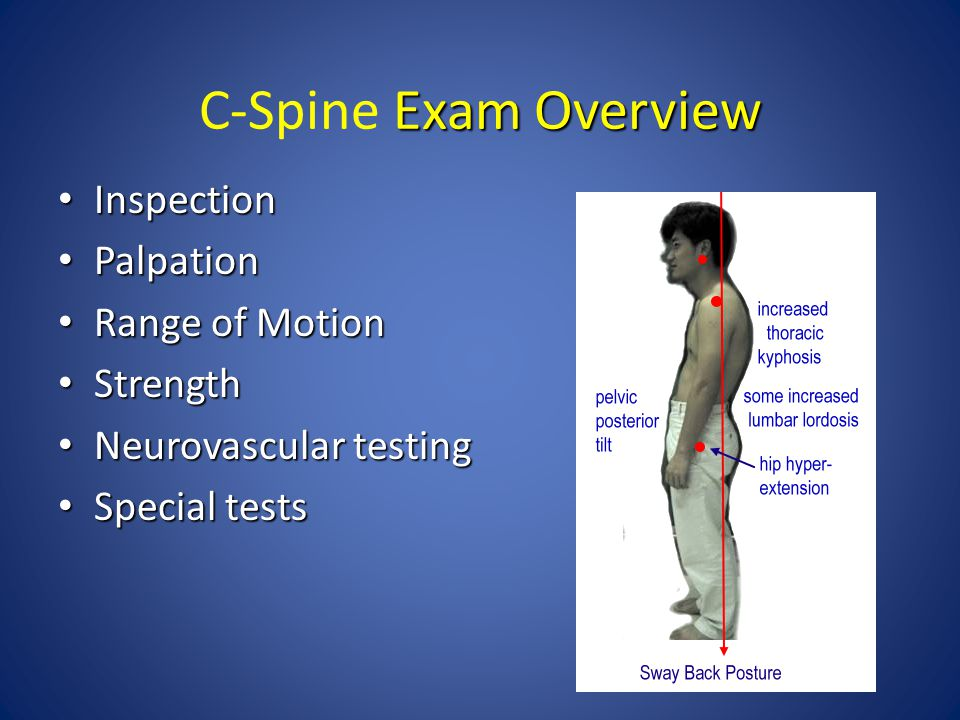 Exam Overview C-Spine Exam Overview Inspection Inspection Palpation Palpation Range of Motion Range of Motion Strength Strength Neurovascular testing