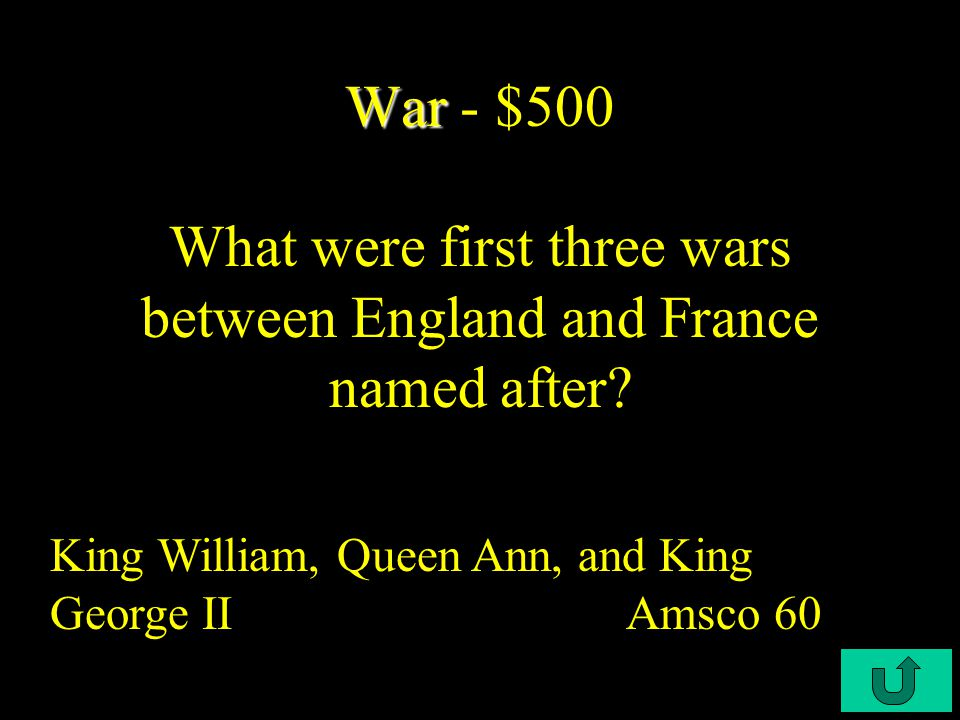 C2-$400 War War - $400 Who acquire French Canada and Spanish Florida after the French and Indian War.