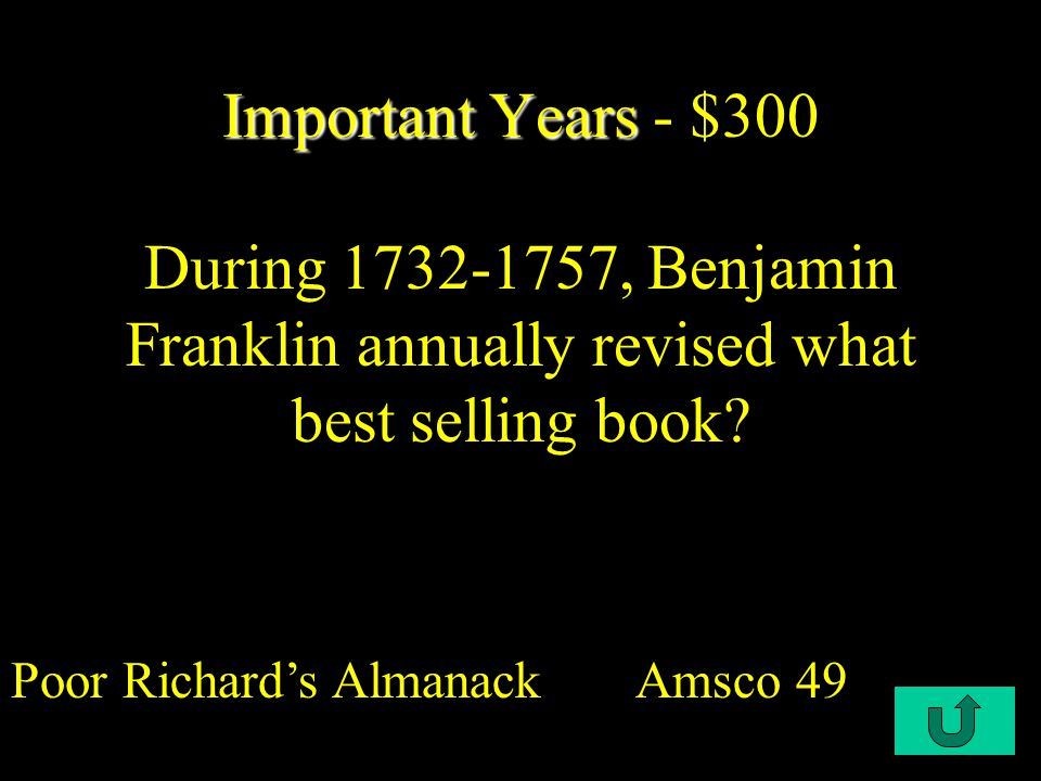 C4-$300 Great Awakening - $300 What was the main focus of sermons delivered by preachers of the Great Awakening.