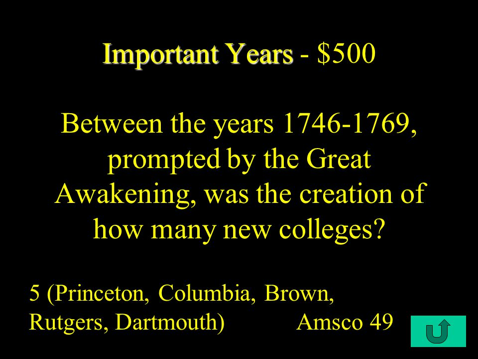 C1-$400 Important Years Important Years - $400 In what year did the Royal Governor put down Regulator revolt in North Carolina.
