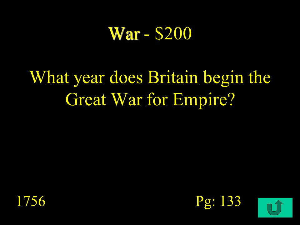 C4-$200 Cultural Life Cultural Life - $200 In 1760s almost half of England's World Trade was with ______.