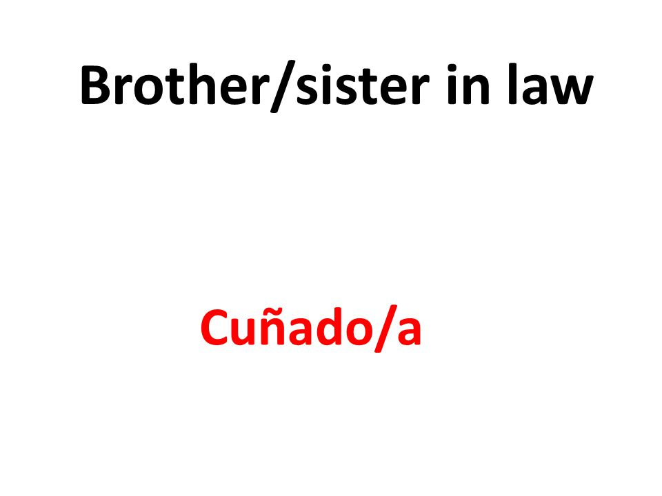 Brother/sister in law Cuñado/a