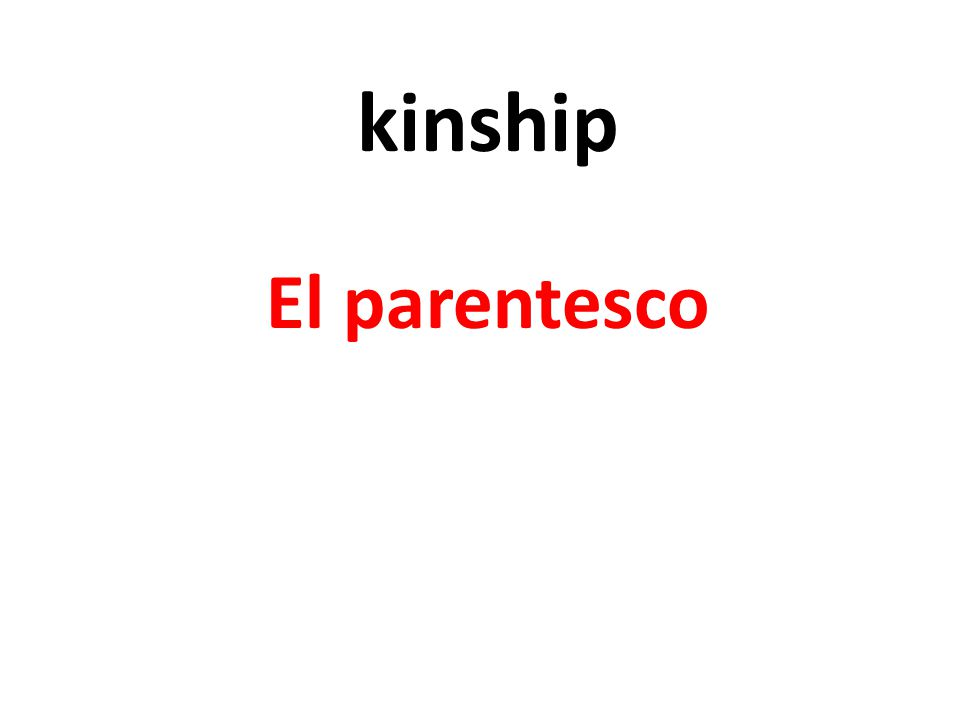 kinship El parentesco
