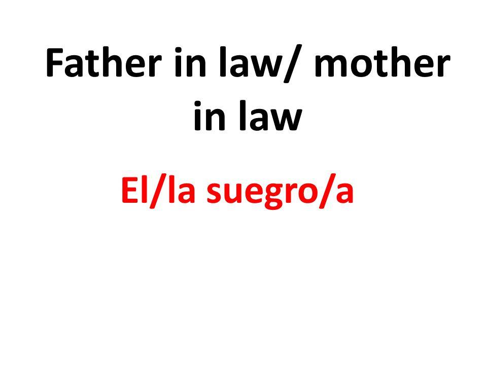 Father in law/ mother in law El/la suegro/a