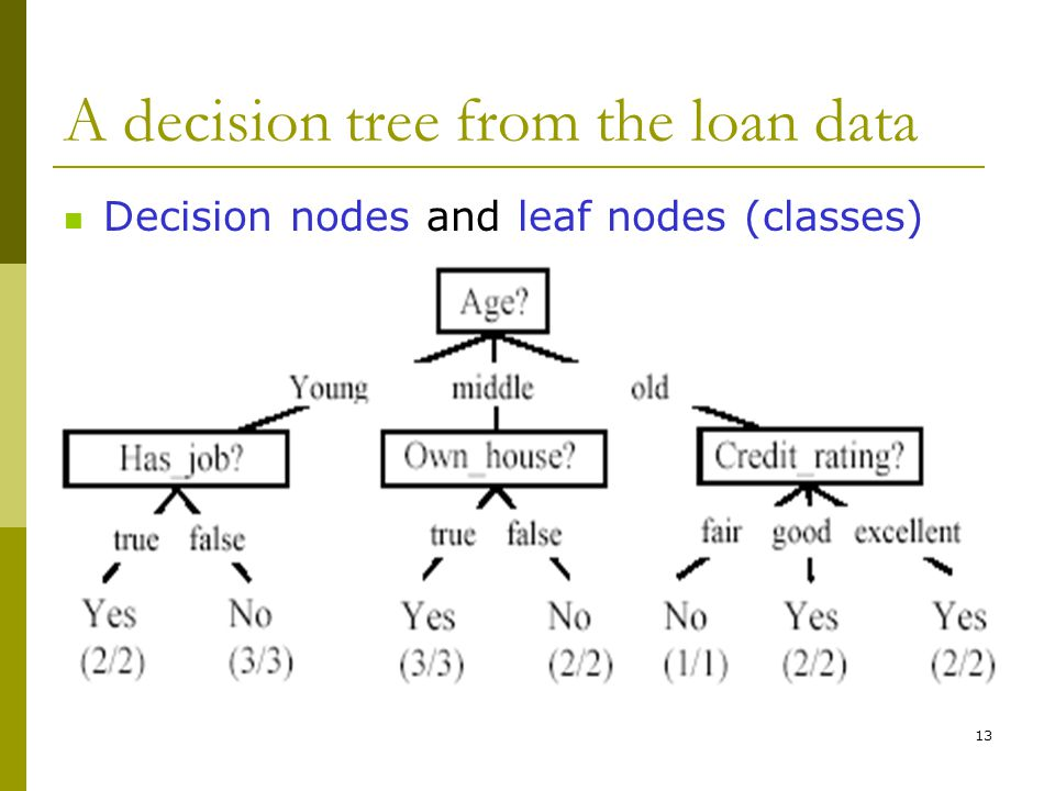 13 A decision tree from the loan data Decision nodes and leaf nodes (classes)