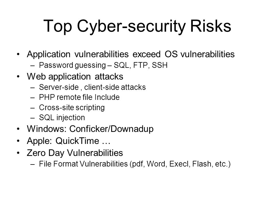 Top Cyber-security Risks Application vulnerabilities exceed OS vulnerabilities –Password guessing – SQL, FTP, SSH Web application attacks –Server-side, client-side attacks –PHP remote file Include –Cross-site scripting –SQL injection Windows: Conficker/Downadup Apple: QuickTime … Zero Day Vulnerabilities –File Format Vulnerabilities (pdf, Word, Execl, Flash, etc.)