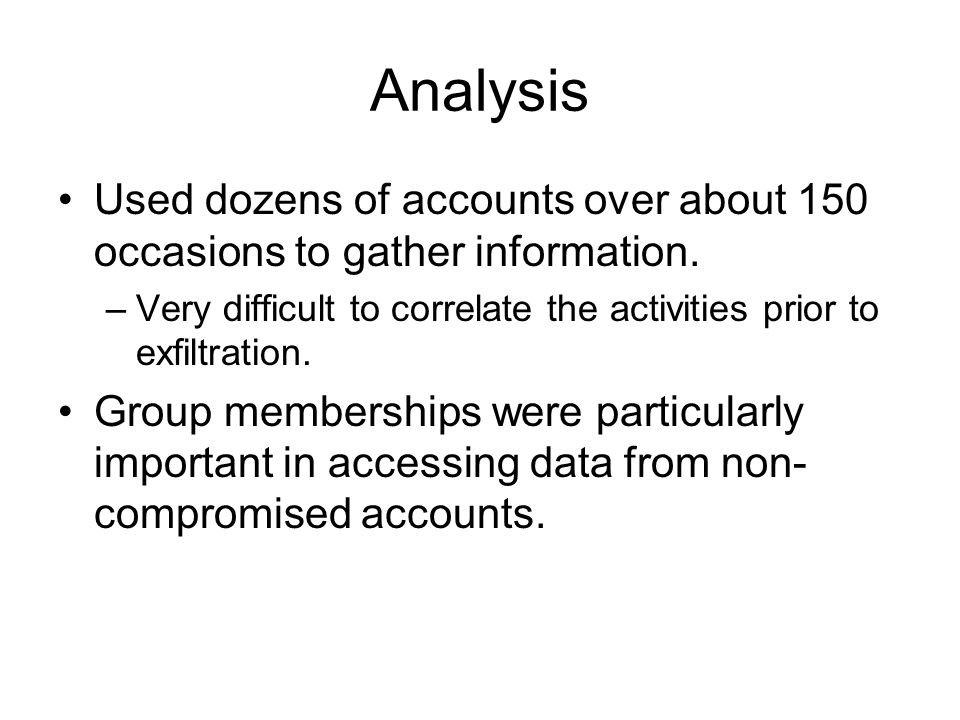 Analysis Used dozens of accounts over about 150 occasions to gather information.