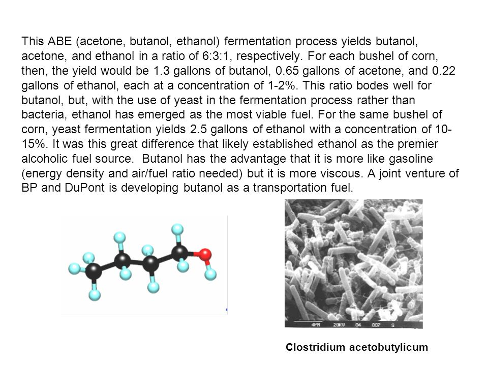 This ABE (acetone, butanol, ethanol) fermentation process yields butanol, acetone, and ethanol in a ratio of 6:3:1, respectively. For each bushel of c