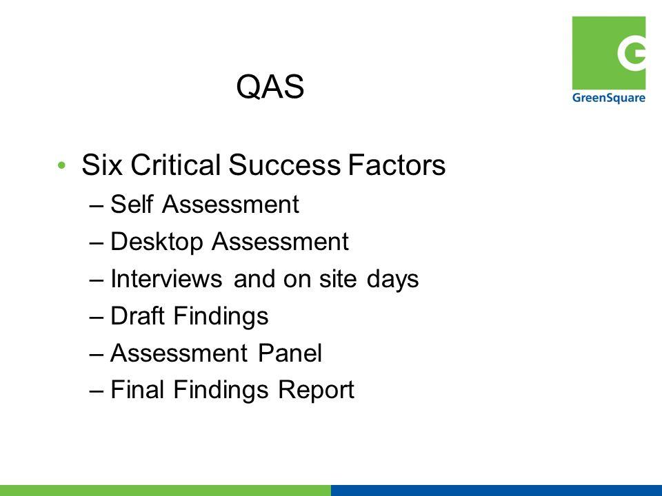 QAS Six Critical Success Factors –Self Assessment –Desktop Assessment –Interviews and on site days –Draft Findings –Assessment Panel –Final Findings R