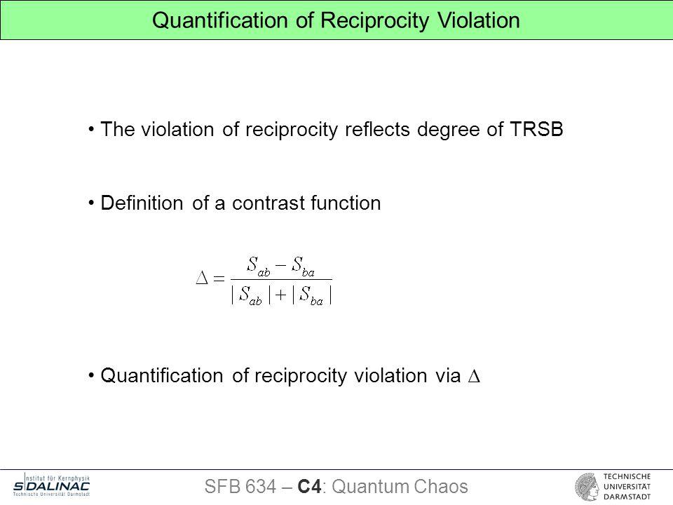Quantification of Reciprocity Violation The violation of reciprocity reflects degree of TRSB Definition of a contrast function Quantification of reciprocity violation via Δ SFB 634 – C4: Quantum Chaos