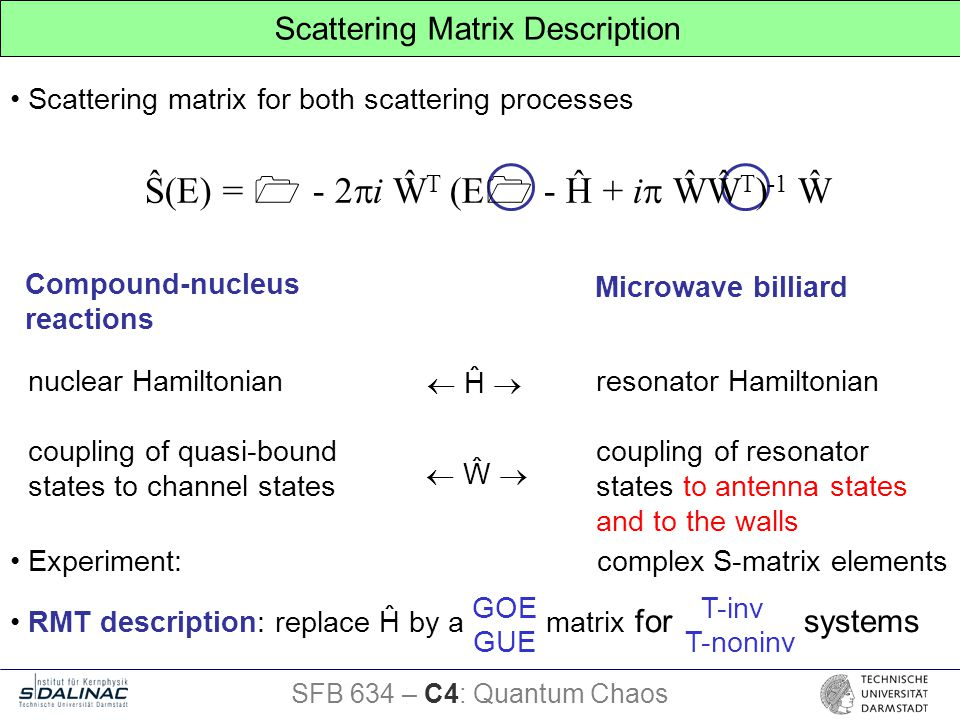 Scattering matrix for both scattering processes RMT description: replace Ĥ by a matrix for systems Microwave billiard Compound-nucleus reactions resonator Hamiltonian coupling of resonator states to antenna states and to the walls nuclear Hamiltonian coupling of quasi-bound states to channel states  Ĥ   Ŵ  Ŝ(E) =  - 2  i Ŵ T (E  - Ĥ + i  ŴŴ T ) -1 Ŵ SFB 634 – C4: Quantum Chaos Scattering Matrix Description GOE T-inv GUE T-noninv Experiment: complex S-matrix elements