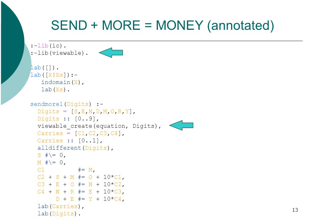 13 SEND + MORE = MONEY (annotated) :-lib(ic). :-lib(viewable). lab([]). lab([X|Xs]):- indomain(X), lab(Xs). sendmore1(Digits) :- Digits = [S,E,N,D,M,O