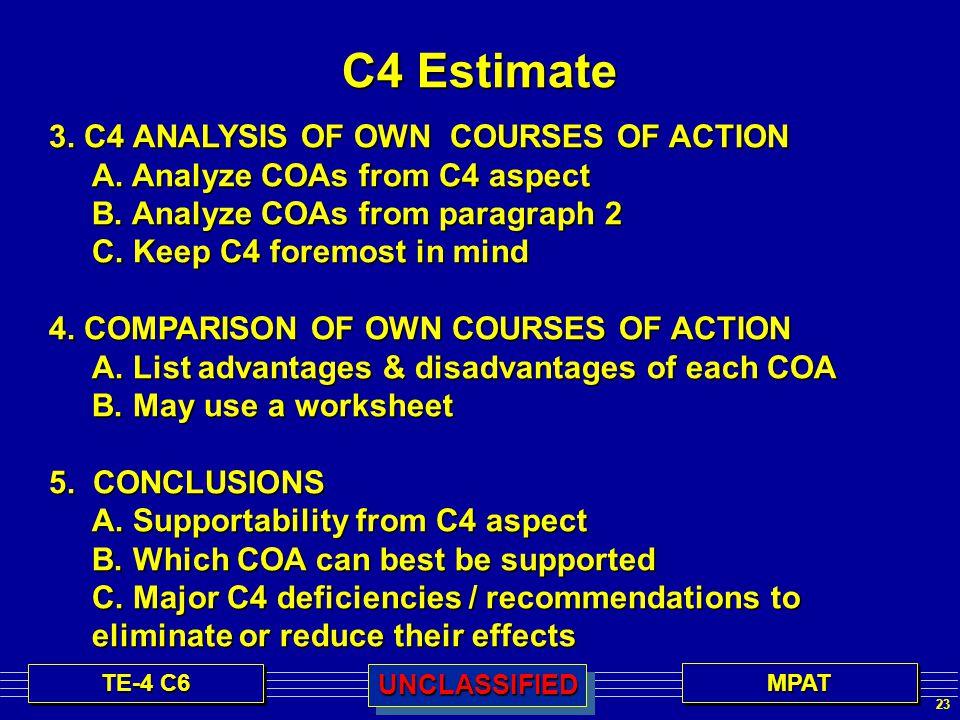 23 TE-4 C6 MPATMPATUNCLASSIFIEDUNCLASSIFIED C4 Estimate 3.