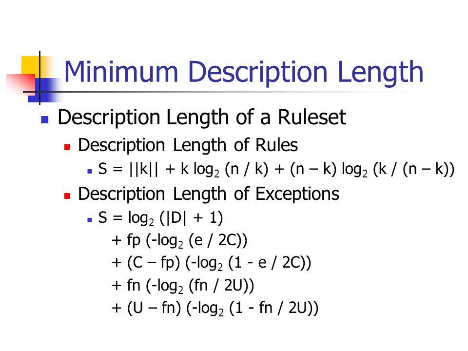 Minimum Description Length Description Length of a Ruleset Description Length of Rules S = ||k|| + k log 2 (n / k) + (n – k) log 2 (k / (n – k)) Descr