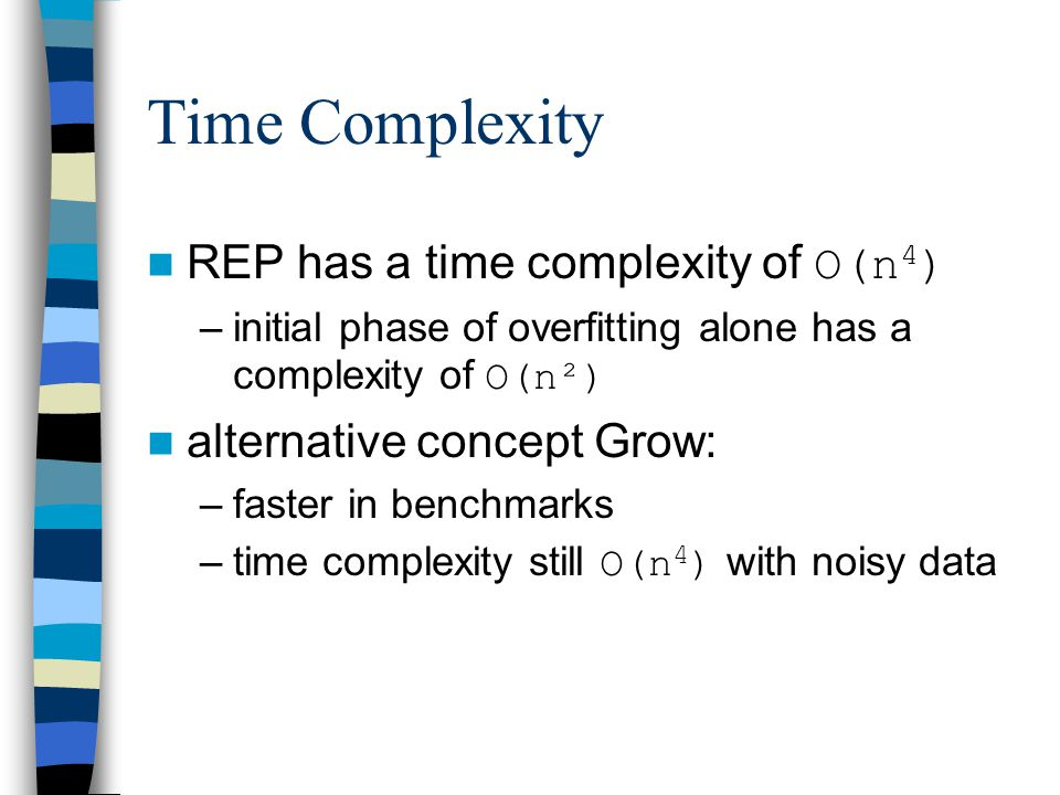 Incremental Reduced Error Pruning - IREP by Fürnkranz & Widmer (1994) competitive error rates faster than REP and Grow