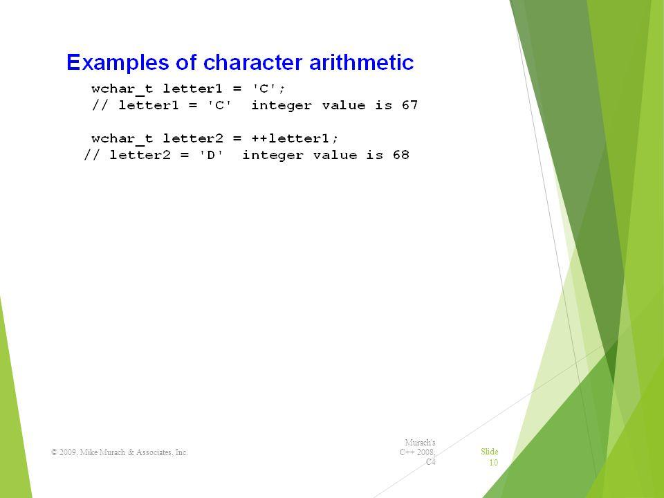 Murach s C++ 2008, C4 © 2009, Mike Murach & Associates, Inc. Slide 10