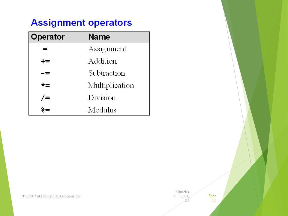 Murach s C++ 2008, C4 © 2009, Mike Murach & Associates, Inc. Slide 11