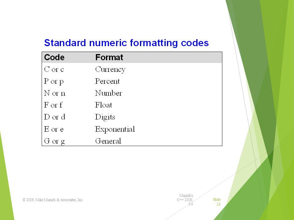 Murach s C++ 2008, C4 © 2009, Mike Murach & Associates, Inc. Slide 29