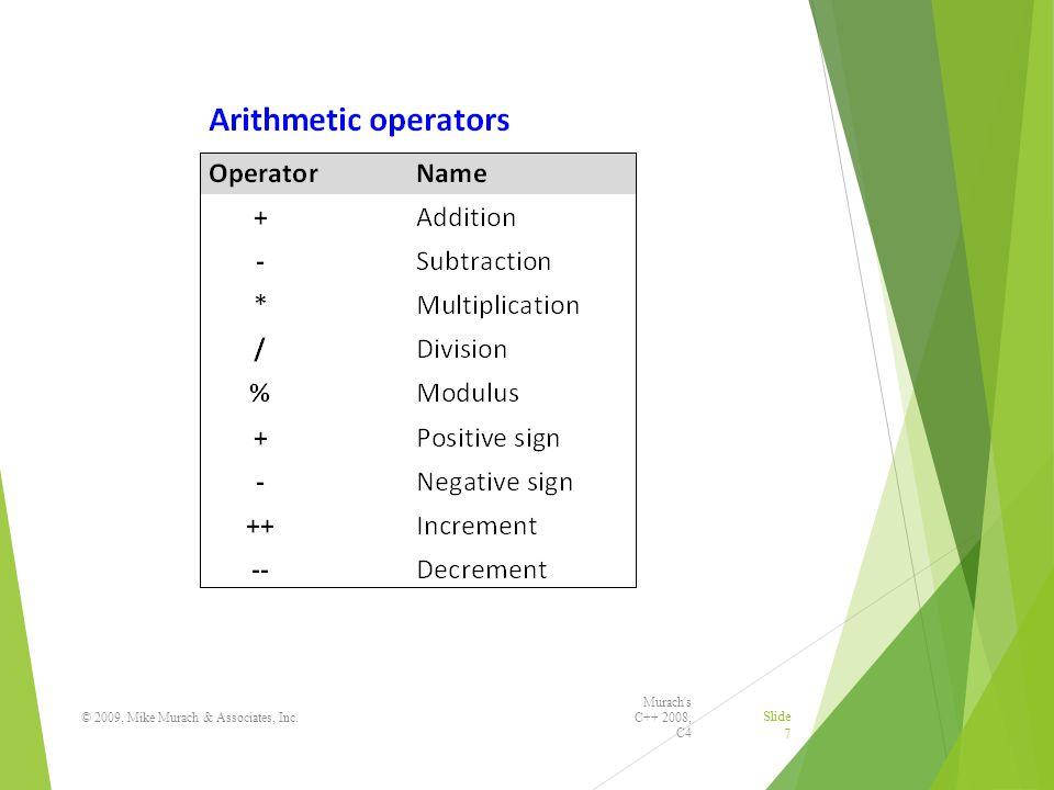 Murach s C++ 2008, C4 © 2009, Mike Murach & Associates, Inc. Slide 7