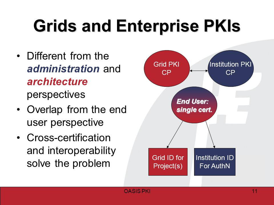 OASIS PKI11 Grids and Enterprise PKIs Different from the administration and architecture perspectives Overlap from the end user perspective Cross-cert
