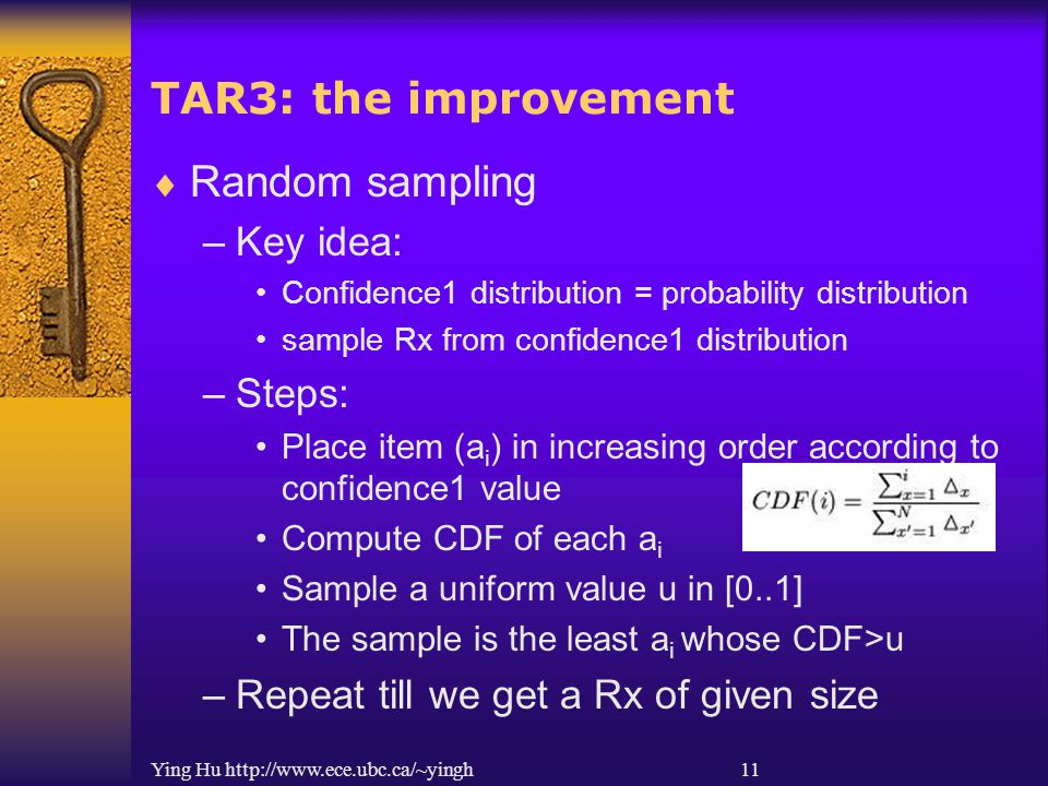 Ying Hu http://www.ece.ubc.ca/~yingh 11 TAR3: the improvement  Random sampling –Key idea: Confidence1 distribution = probability distribution sample