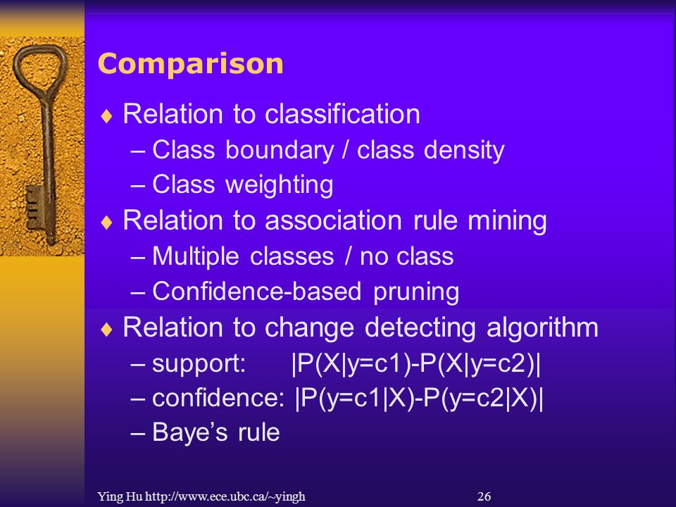 Ying Hu http://www.ece.ubc.ca/~yingh 26 Comparison  Relation to classification –Class boundary / class density –Class weighting  Relation to association rule mining –Multiple classes / no class –Confidence-based pruning  Relation to change detecting algorithm –support: |P(X|y=c1)-P(X|y=c2)| –confidence: |P(y=c1|X)-P(y=c2|X)| –Baye's rule