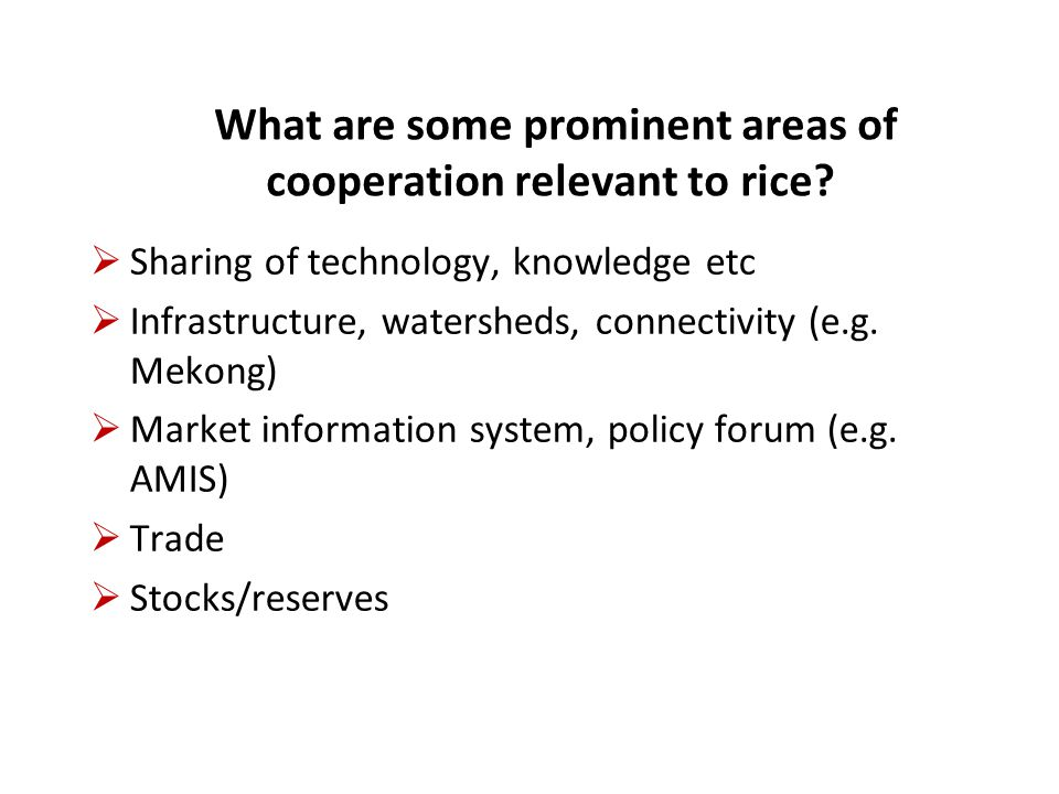 List A - less divisive arrangements – relatively easier to cooperate  Sharing of technology, knowledge (e.g.