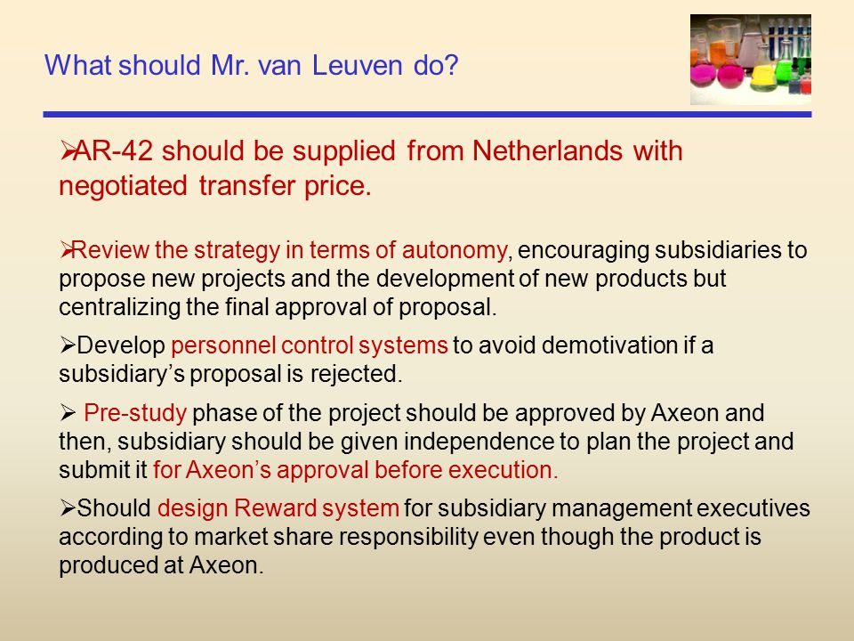 What should Mr. van Leuven do?  AR-42 should be supplied from Netherlands with negotiated transfer price.  Review the strategy in terms of autonomy,