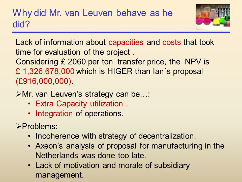 Why did Mr. van Leuven behave as he did? Lack of information about capacities and costs that took time for evaluation of the project. Considering £ 20