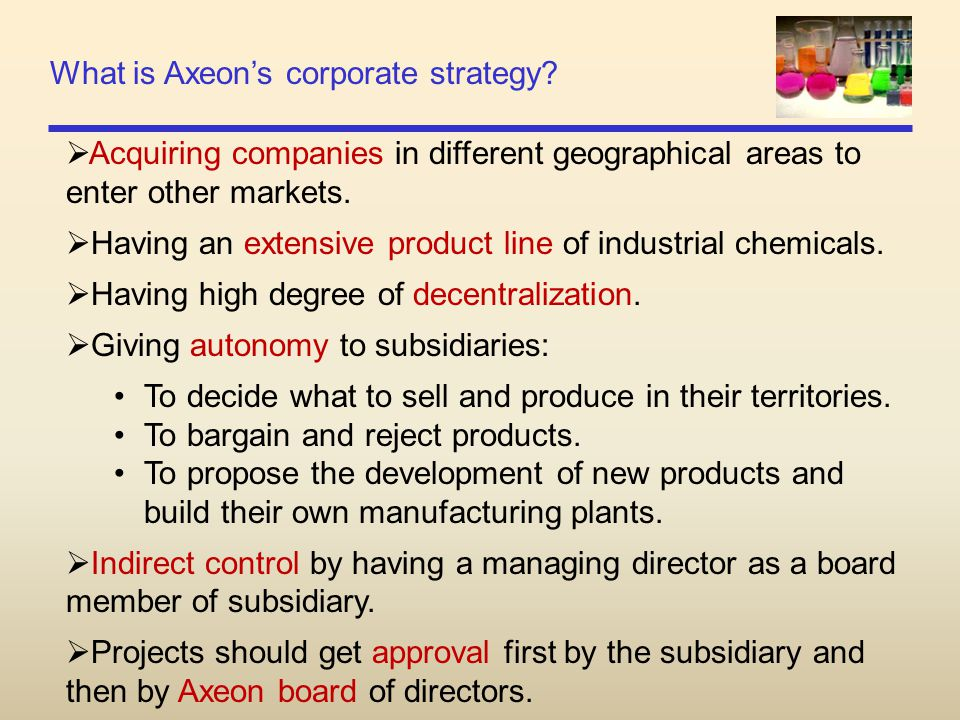 What is Axeon's corporate strategy?  Acquiring companies in different geographical areas to enter other markets.  Having an extensive product line o