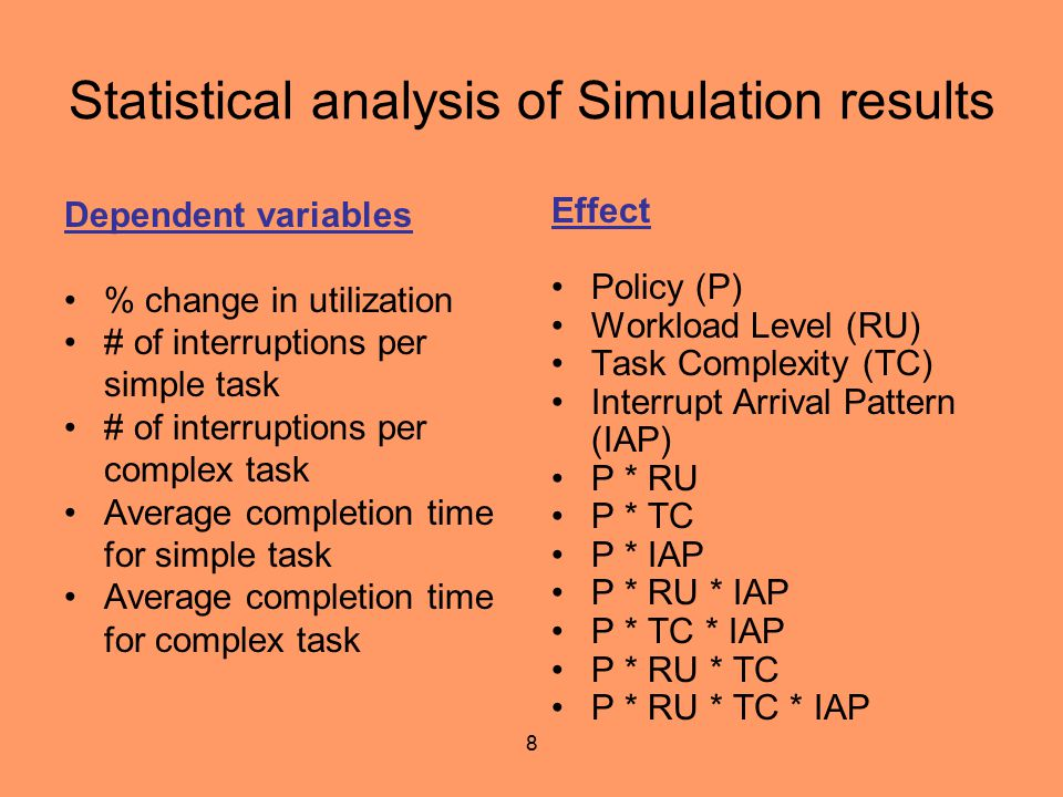 8 Statistical analysis of Simulation results Dependent variables % change in utilization # of interruptions per simple task # of interruptions per com